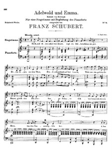 Adelwold and Emma, D.211: Para vocais e piano by Franz Schubert