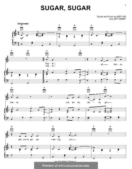 Sugar, Sugar (The Archies): Para vocais e piano (ou Guitarra) by Andy Kim, Jeff Barry