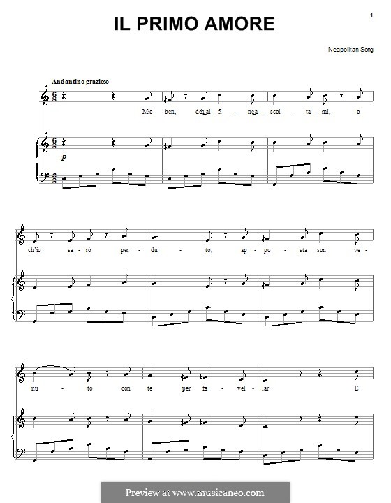 Il primo amore: Para vocais e piano (ou Guitarra) by folklore