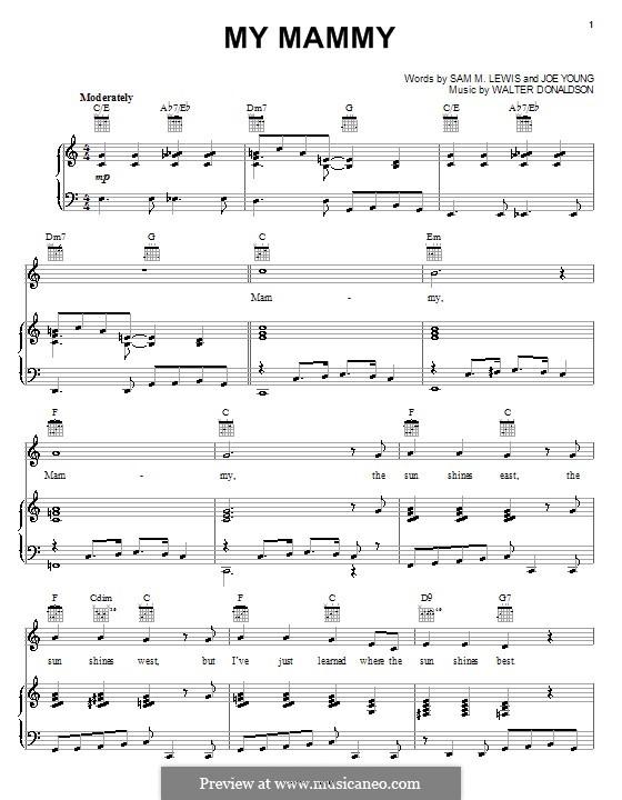 My Mammy (from The Jazz Singer): Para vocais e piano (ou Guitarra) by Walter Donaldson