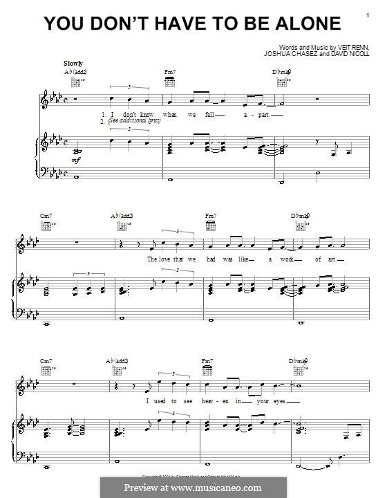 You Don't Have To Be Alone ('N Sync): Para vocais e piano (ou Guitarra) by David Nicoll, Joshua Chasez, Veit Renn