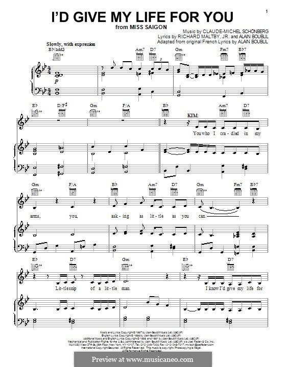 I'd Give My Life for You: Para vocais e piano (ou Guitarra) by Claude-Michel Schönberg