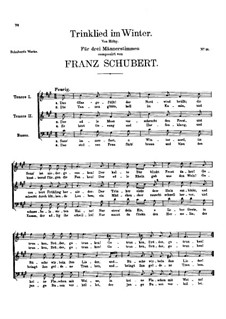 Trinklied im Winter (Drinking Song in Winter), D.242: Trinklied im Winter (Drinking Song in Winter) by Franz Schubert