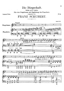 Die Bürgschaft (The Bond), D.246: Para vocais e piano by Franz Schubert