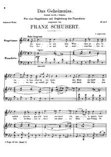 Das Geheimnis (The Secret), D.250: Das Geheimnis (The Secret) by Franz Schubert