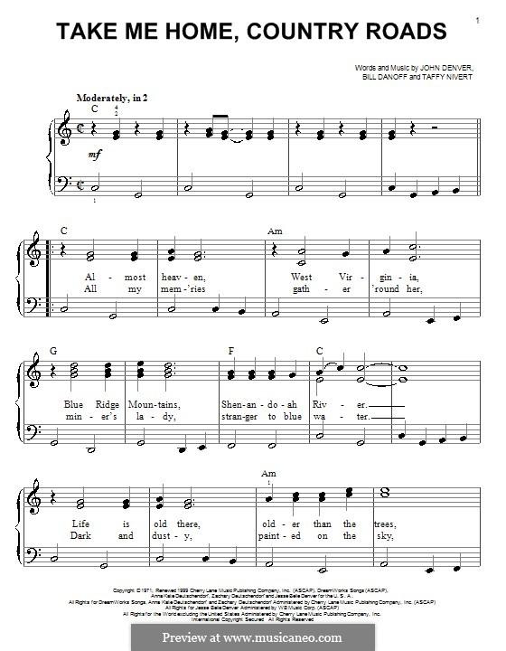Take Me Home, Country Roads: Facil para o piano by Bill Danoff, John Denver, Taffy Nivert
