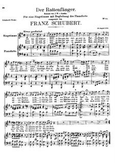 Der Rattenfänger (The Rat-Catcher), D.255: Partitura piano-vocal by Franz Schubert