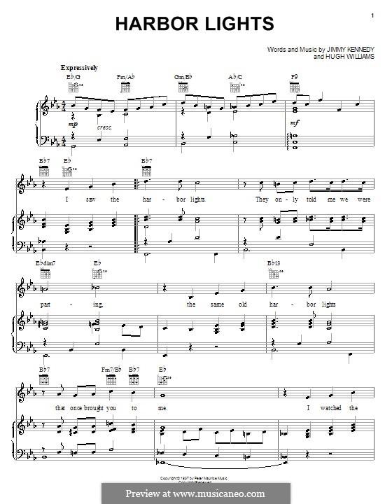 Harbor Lights (The Platters): Para vocais e piano (ou Guitarra) by Hugh Williams, Jimmy Kennedy