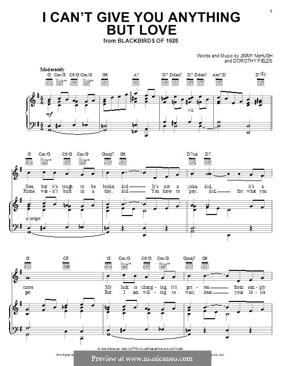 I Can't Give You Anything But Love: para voz e piano ou guitarra (Ella Fitzgerald) by Jimmy McHugh
