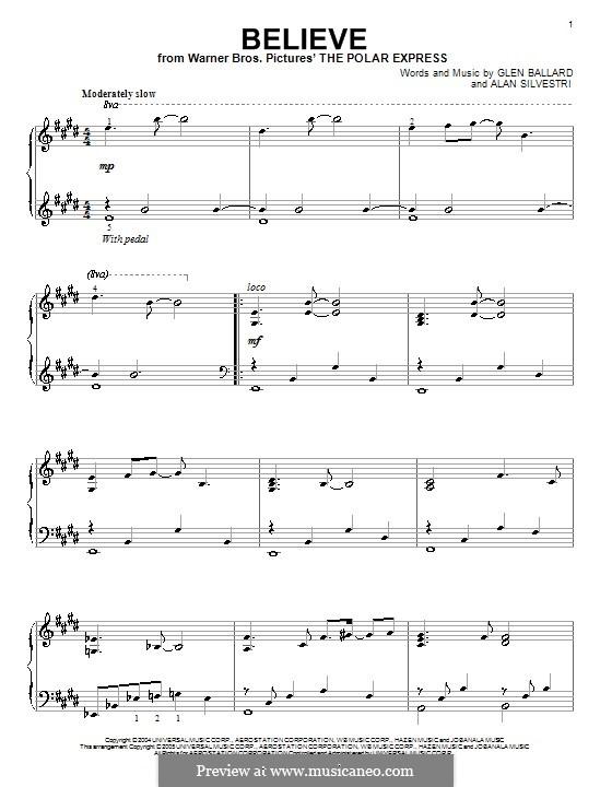 Believe (Josh Groban): Para Piano by Alan Silvestri, Glen Ballard