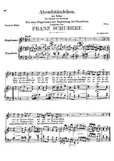 Abendständchen. An Lina (Evening Serenade. To Lina), D.265: B flat Maior by Franz Schubert