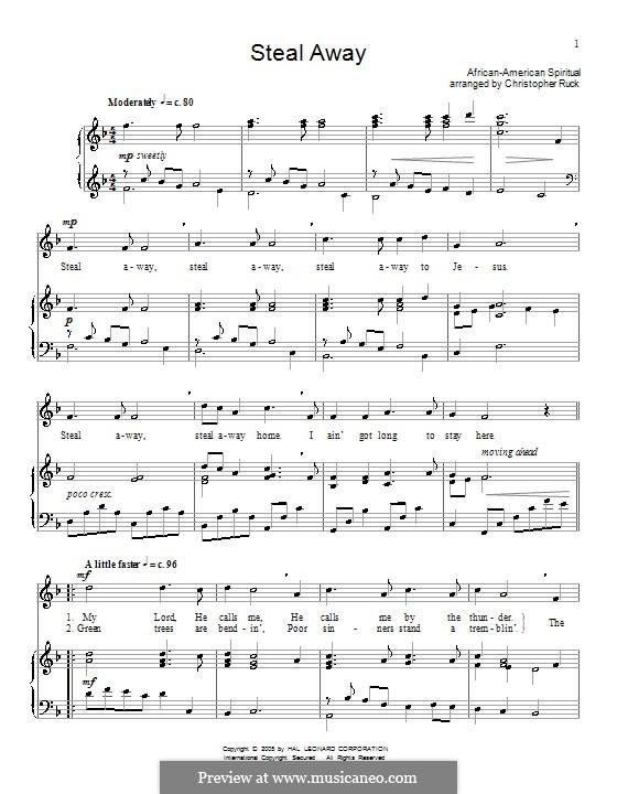 Steal Away (Steal Away To Jesus): Para vocais e piano (ou Guitarra) by folklore