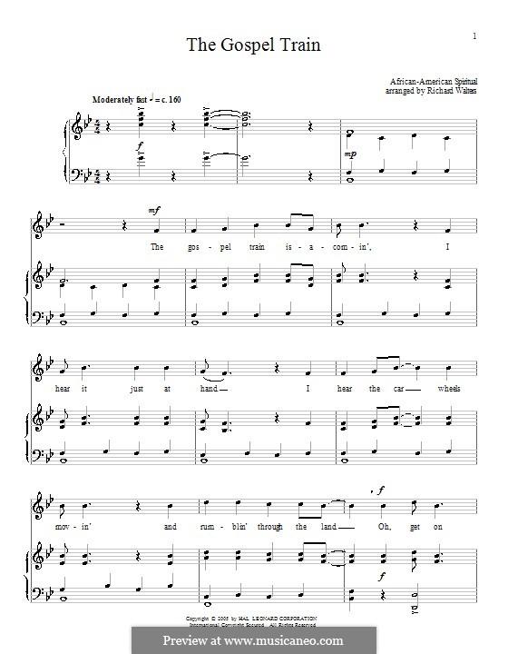 The Gospel Train: Para vocais e piano (ou Guitarra) by folklore