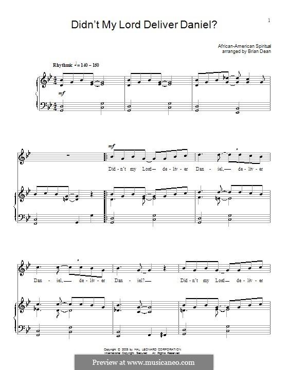 Didn't My Lord Deliver Daniel?: Para vocais e piano (ou Guitarra) by folklore