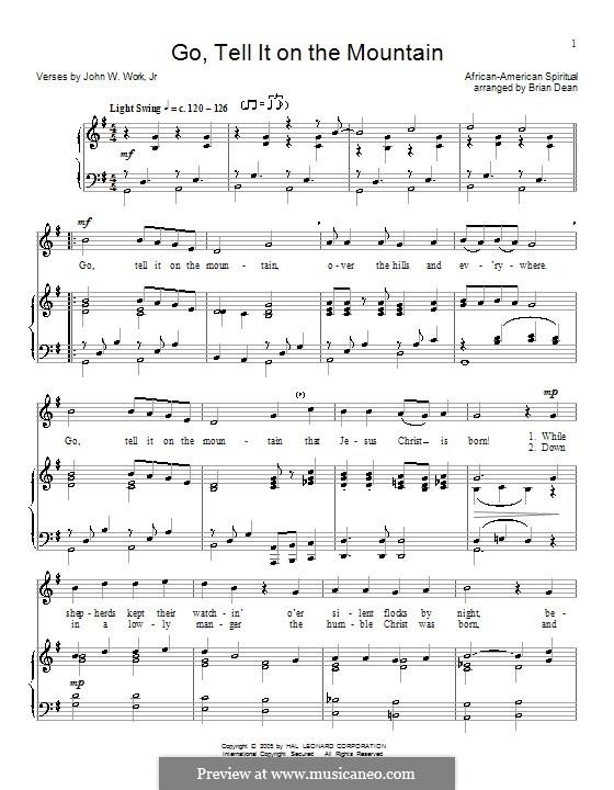 Go, Tell it on the Mountain (Printable Scores): Para vocais e piano (ou Guitarra) by folklore