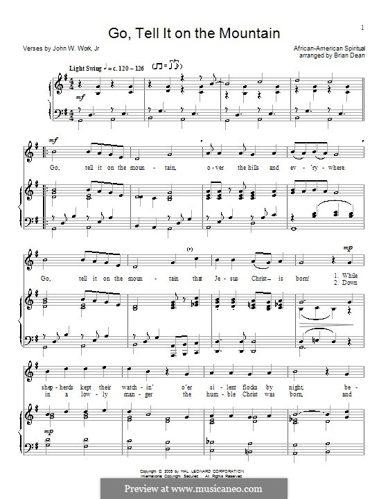 Go, Tell it on the Mountain: Para vocais e piano (ou Guitarra) by folklore