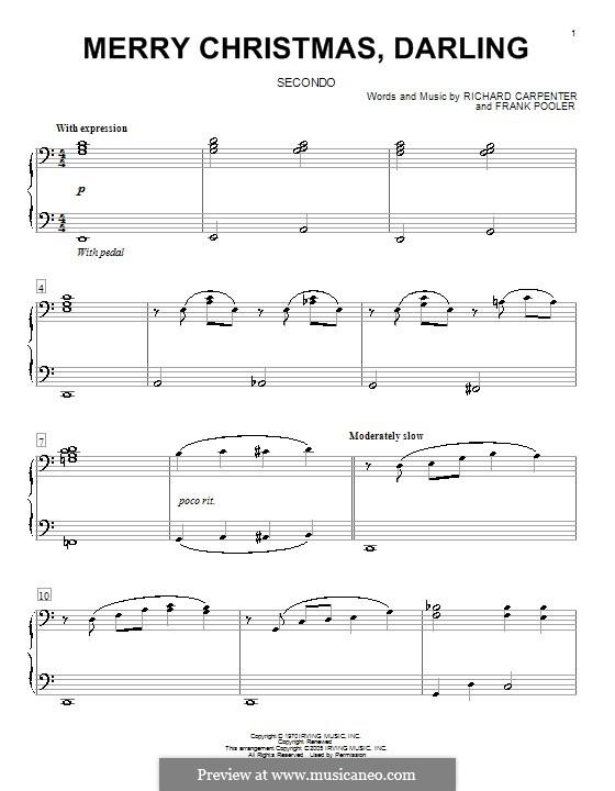 Merry Christmas, Darling (Carpenters): para piano de quadro mãos by Frank Pooler, Richard Carpenter