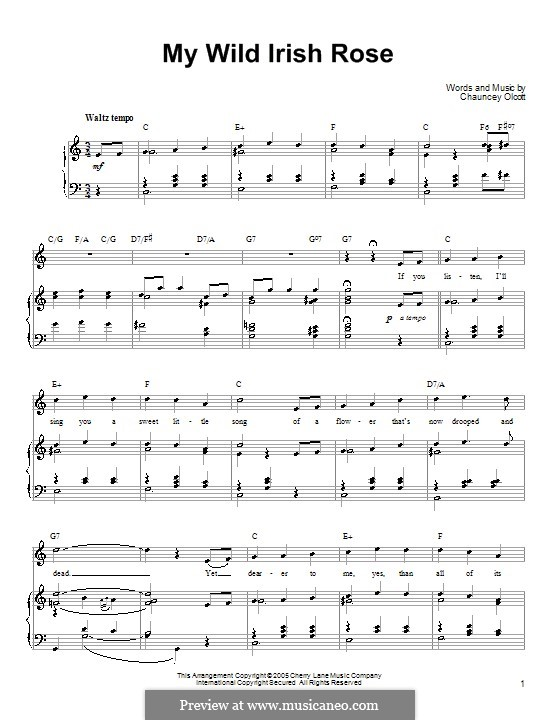 My Wild Irish Rose: For voice and piano or guitar (Ronan Tynan) by Chauncey Olcott