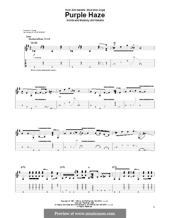 Purple Haze: Para guitarra com guia by Jimi Hendrix