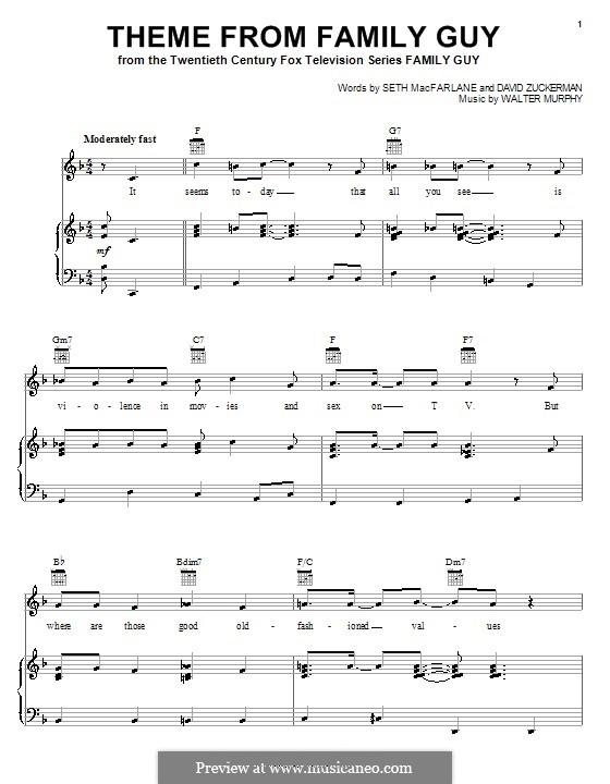 Theme from Family Guy: Para vocais e piano (ou Guitarra) by David Zuckerman, Seth MacFarlane, Walter Murphy