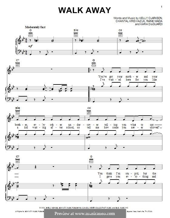 Walk Away: Para vocais e piano (ou Guitarra) by Chantal Kreviazuk, Kara DioGuardi, Kelly Clarkson, Raine Maida
