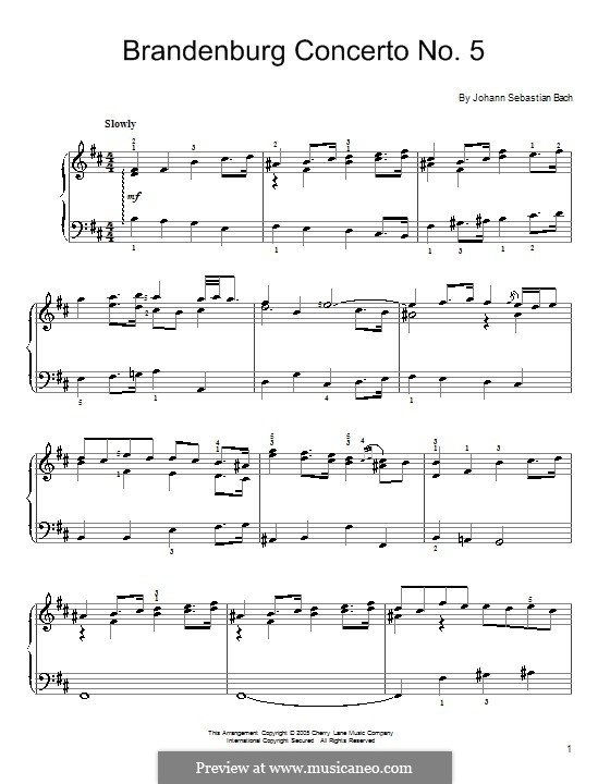 Brandenburg Concerto No.5 in D Major, BWV 1050: Fragmento, para piano by Johann Sebastian Bach