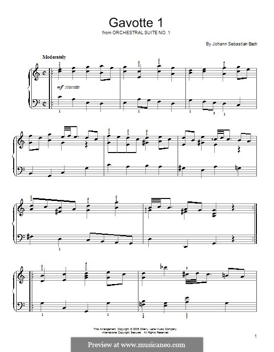 Orchestral Suite No.1 in C Major, BWV 1066: Gavotte No.1. Version for piano by Johann Sebastian Bach