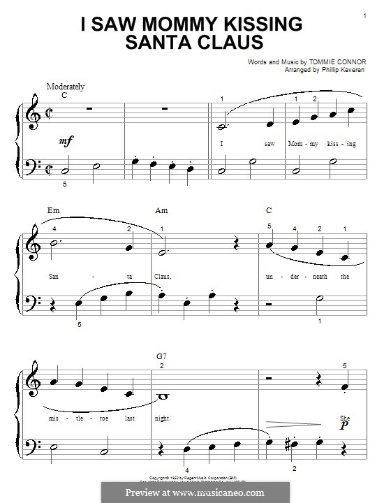 I Saw Mommy Kissing Santa Claus, for Piano: Easy version (big notes) by Tommie Connor