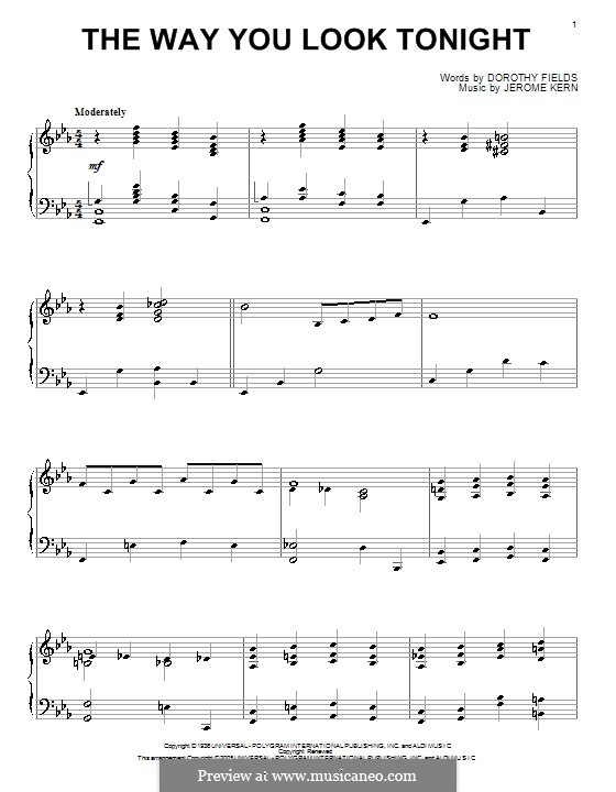The Way You Look Tonight, for Piano: For a single performer (E Flat Major) by Jerome Kern