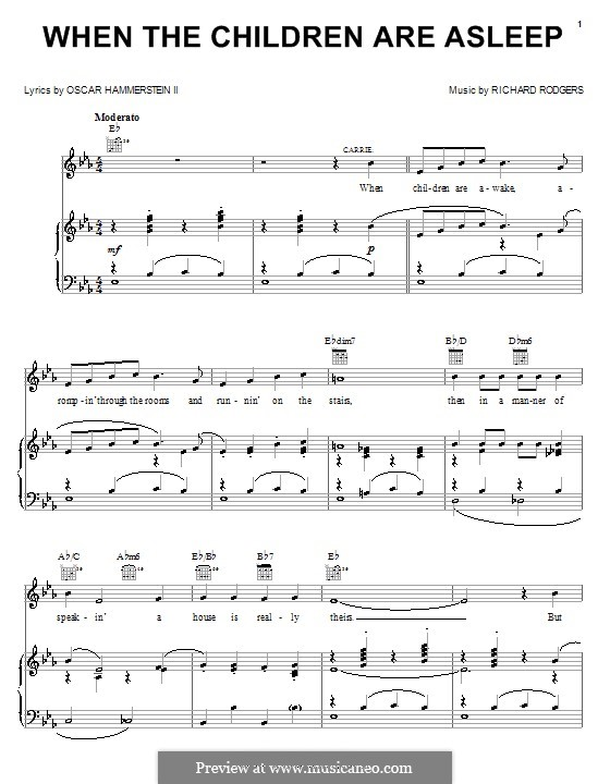 When the Children are Asleep (from Carousel): para vocais,piano ou guitarra by Richard Rodgers