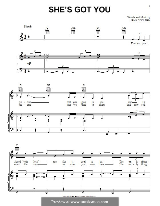 She's Got You (Patsy Cline): Para vocais e piano (ou Guitarra) by Hank Cochran