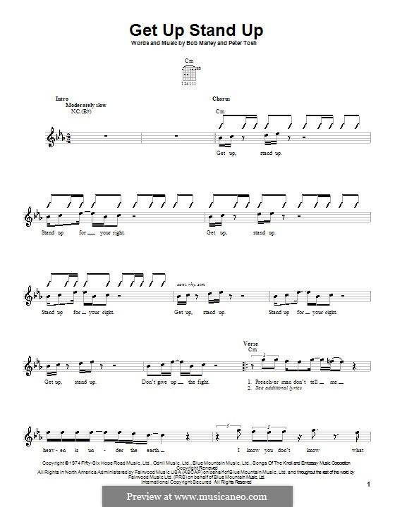 Get Up Stand Up: para guitarras (com dedilhado) by Bob Marley, Peter Tosh
