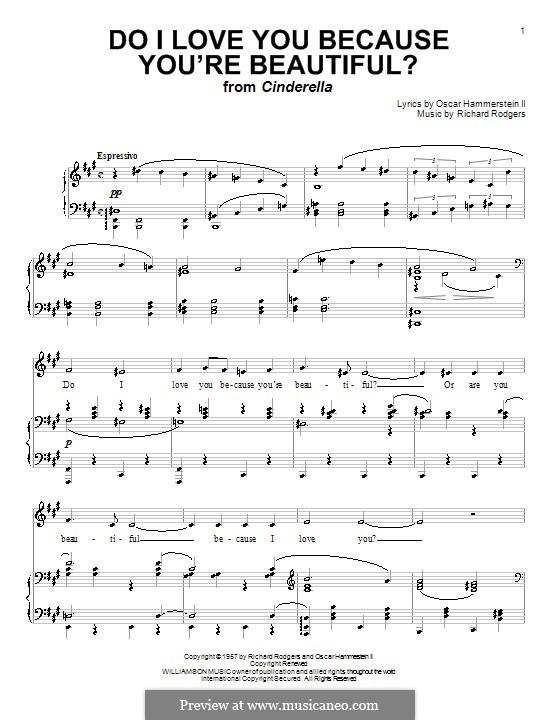 Do I Love You Because You're Beautiful?: para vocais,piano ou guitarra by Richard Rodgers