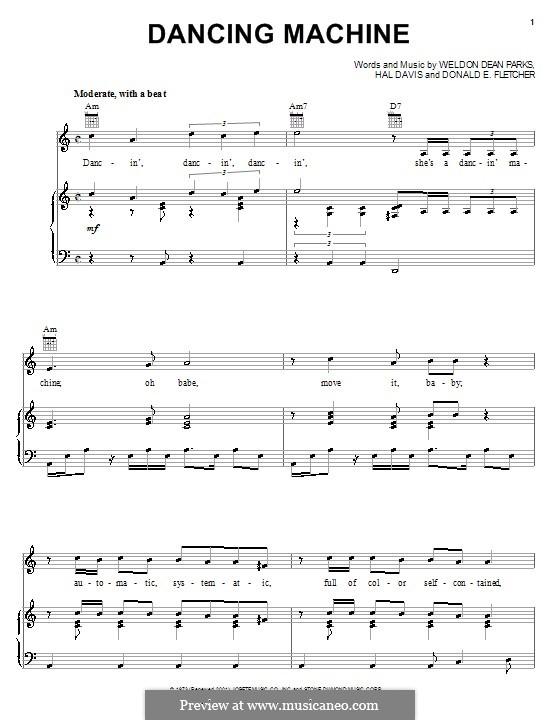 Dancing Machine (The Jackson 5): Para vocais e piano (ou Guitarra) by Donald E. Fletcher, Hal Davis, Weldon Dean Parks