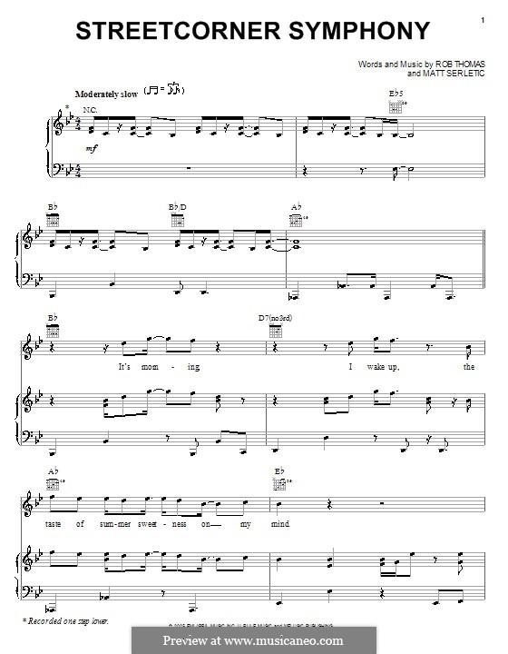 Streetcorner Symphony: Para vocais e piano (ou Guitarra) by Matt Serletic