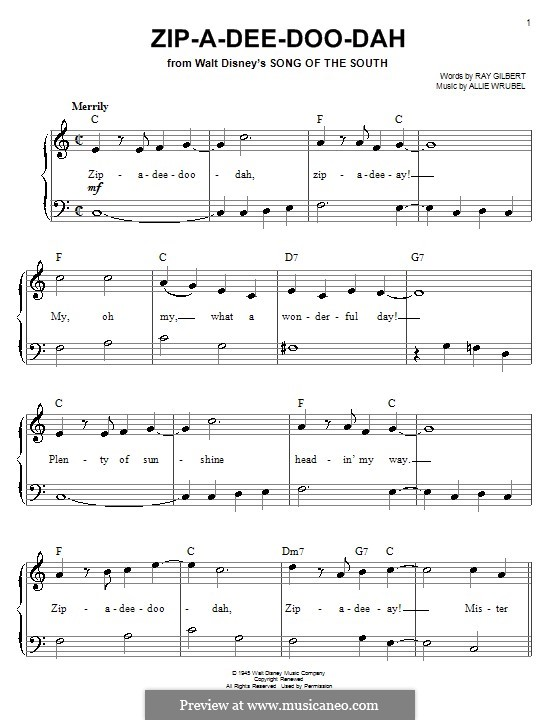 Zip-A-Dee-Doo-Dah: For easy piano (James Baskett) by Allie Wrubel