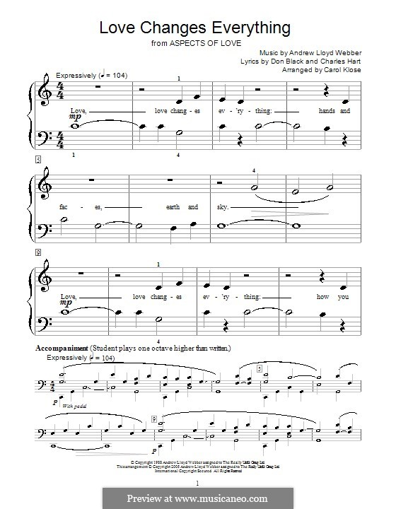 Love Changes Everything: Version for piano by C. Klose by Andrew Lloyd Webber