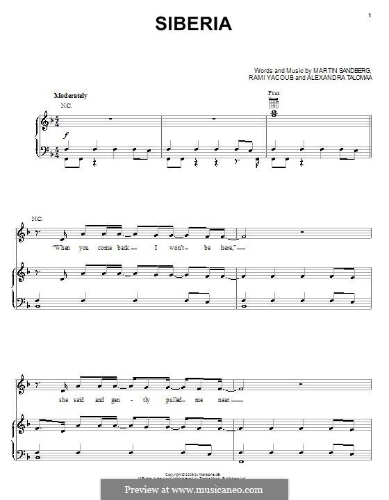 Siberia (Backstreet Boys): Para vocais e piano (ou Guitarra) by Alexandra Talomaa, Max Martin, Rami Yacoub
