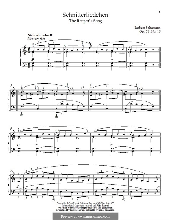 No.18 Schnitterliedchen (The Reaper's Song): Para Piano by Robert Schumann