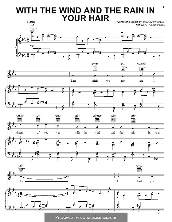 With the Wind and the Rain in Your Hair: Para vocais e piano (ou Guitarra) by Clara Edwards, Jack Lawrence