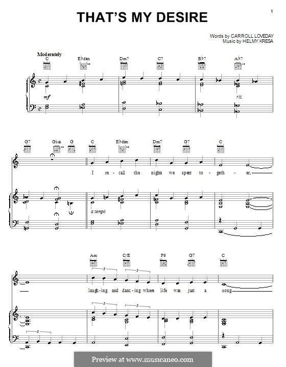 That's My Desire (Frankie Laine): Para vocais e piano (ou Guitarra) by Carroll Loveday, Helmy Kresa