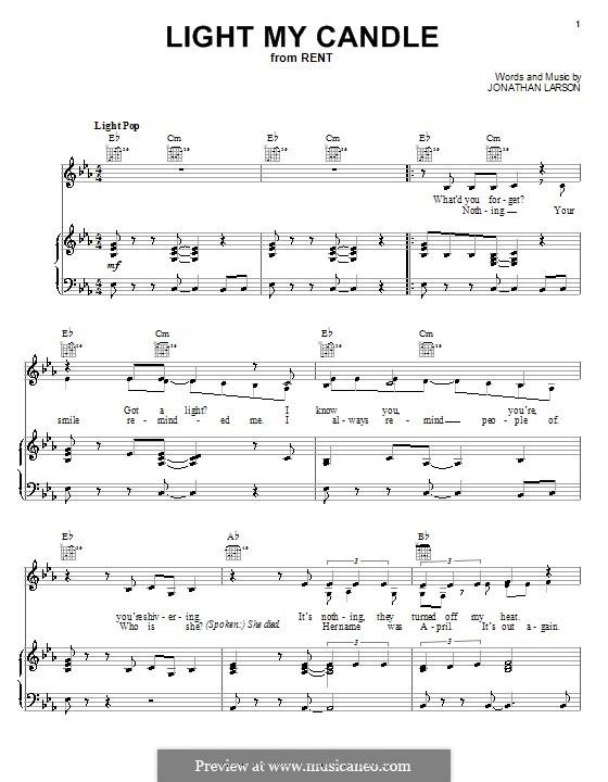 Light My Candle: Para vocais e piano (ou Guitarra) by Jonathan Larson