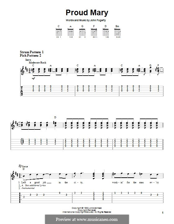 Proud Mary (Creedence Clearwater Revival): Para guitarra (versão facil) by John C. Fogerty