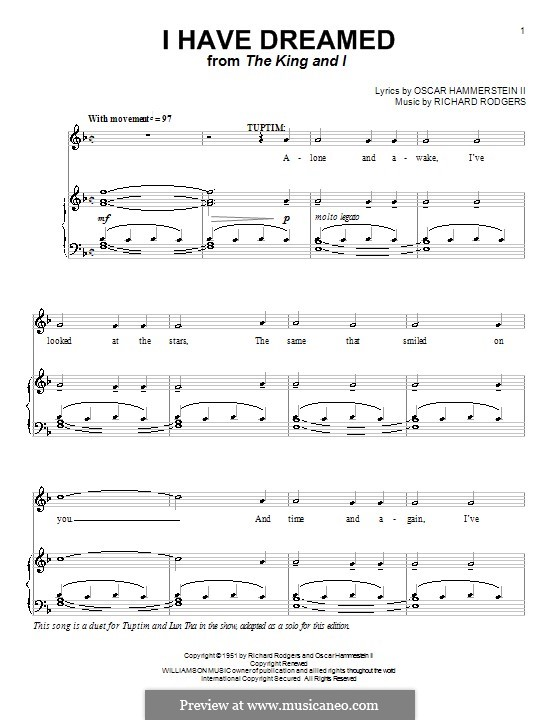 I Have Dreamed (from The King and I): para voz, piano e guitarra (F Major) by Richard Rodgers