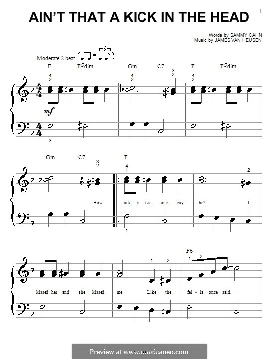 Ain't That a Kick in the Head: For easy piano (Dean Martin) by Jimmy Van Heusen