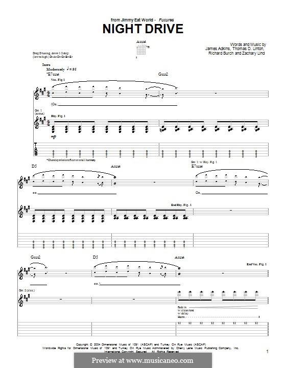 Night Drive (Jimmy Eat World): Para guitarra com guia by James Adkins, Richard Burch, Thomas D. Linton, Zachary Lind