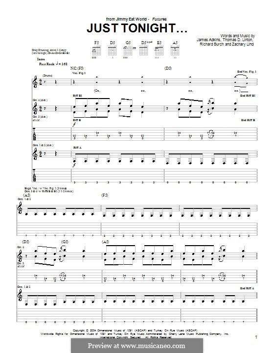 Just Tonight... (Jimmy Eat World): Para guitarra com guia by James Adkins, Richard Burch, Thomas D. Linton, Zachary Lind