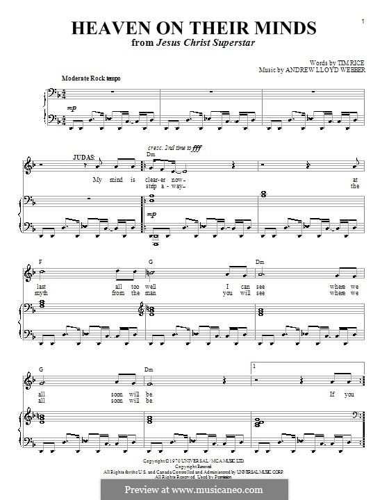 Heaven on Their Minds: Para vocais e piano (ou Guitarra) by Andrew Lloyd Webber