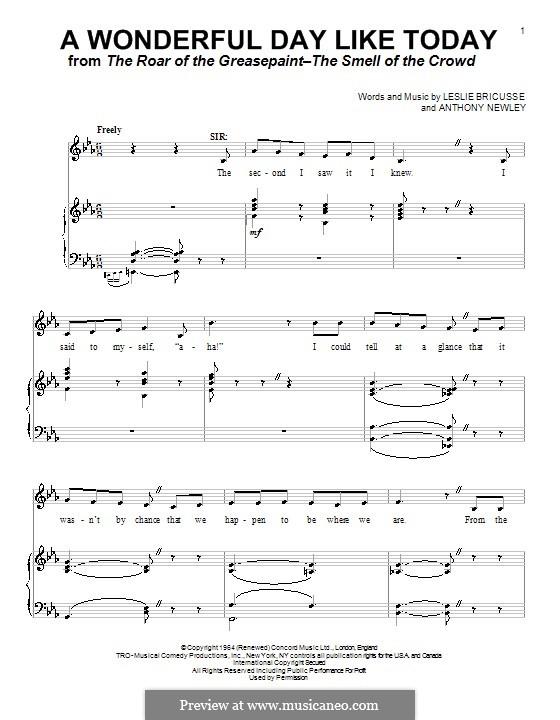 A Wonderful Day Like Today: Para vocais e piano (ou Guitarra) by Anthony Newley