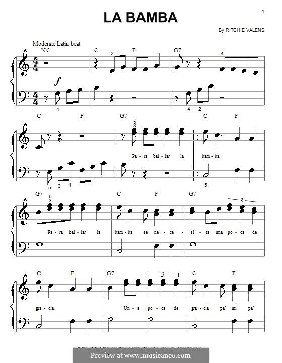 La Bamba: para piano (versão facil) by folklore, Ritchie Valens